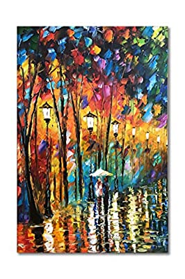 Diathou Art Landscape 36x24 inch Oil Painting night rain street tree lamp texture palette knife abstract Landscape Painting Oil Painting wall Art modern residence living room office decoration abstract Art by Diathou