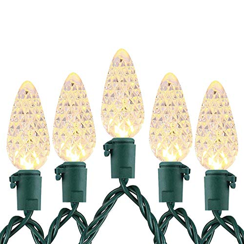 Outdoor LED String Lights Weatherproof Strawberry Lights, 17 feet 50 LEDs Colored Christmas Light Strands C3 Bulbs for Patio Garden Holiday Indoor (17 Feet 50LED, Warm-White)