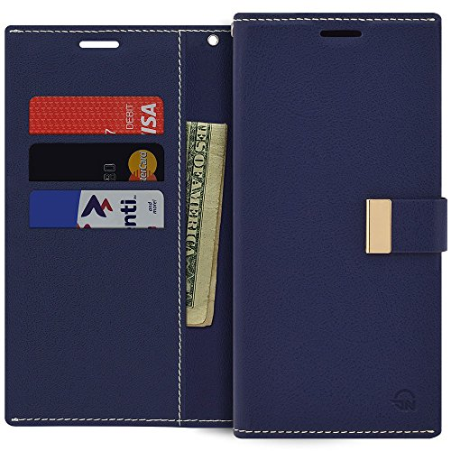 Qoosan LG V30 Wallet Case Premium PU Leather Folding Flip Cover with Card Holder Kickstand Magnetic Closure Shockproof Protective Folio Phone Case for LG V30 V30 Plus V30S ThinQ V35 ThinQ, Navy Blue