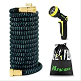 DXYSS Lightweight Expandable Garden Hose Expandable Garden Hose Pipe Flexible Expanding Magic Hose with Multi Spray Watering Gun/Storage Bag/Hose Hanger Fashion Brass Fittings