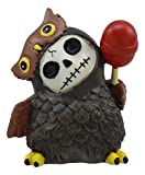 Ebros Furrybones Hootie The Great Horned Owl - Figura decorativa de esqueleto de piruleta roja de 3 pulgadas de alto, huesos peludos, búho café, estatua coleccionable
