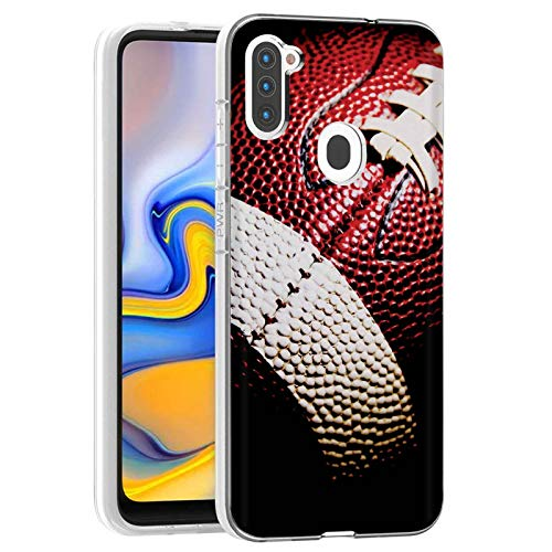 NakedShield Clear Slim Total Cover Phone Case for Samsung Galaxy A11,SM-A115M,Football Print,Light Weight, Unbreakable, Flexible, Surround Edge Protection,Designed in USA