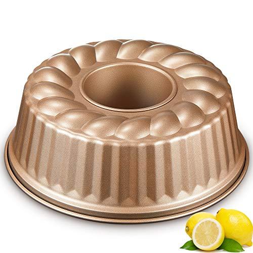 DEIK Molde Savarín Ø24 cm, Metallic Molde Bundt Cake Redondo, Bundt Pan, Revestimiento Antiadherente con Acero al Carbono - Oro Champagne