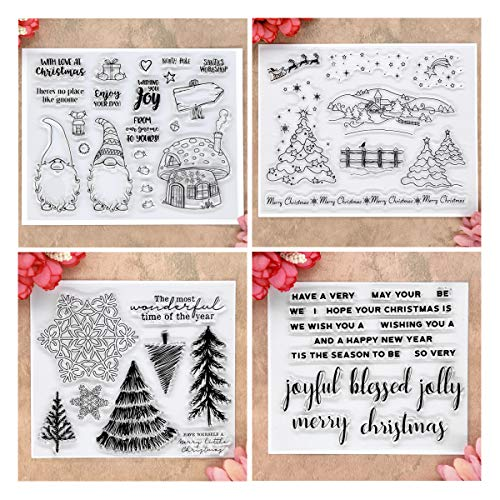 Kwan Crafts 4 Sheets Different Style Christmas Tree Santa Clear Stamps for Card Making Decoration and DIY Scrapbooking