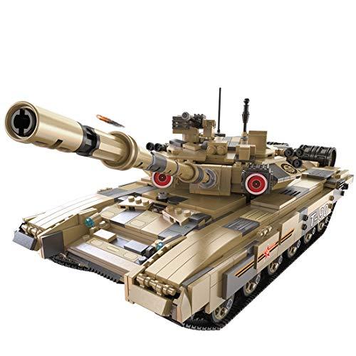 Vipo 1:10 Baustein Panzer DIY Tank Modell T-90 Militär Panzer Bauset Baufahrzeug, 1722 Teile Kompatibel mit Lego Technik