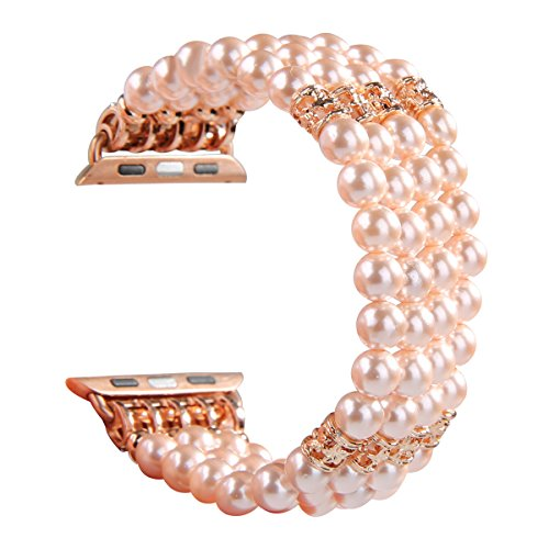 GEMEK Compatible With Apple Watch Band 38mm 40mm Women iWatch Bands Series 6/5/4/3/2/1, Handmade Beaded Elastic Stretch Pearl Bracelet Replacement Strap for Girls Wristband (Pink)