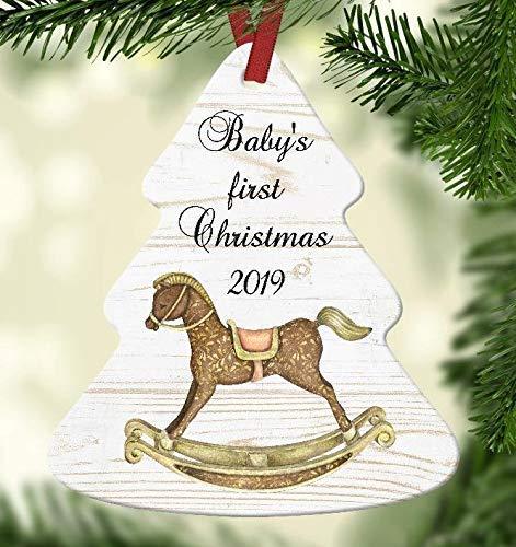 Wini2342ckey Adorno de Navidad para bebé, fondo de madera con caballito mecedor, personaliza el...