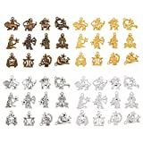 AHANDMAKER Lega 12 Constellation Charm Pendants, 48 Pz 4 Colori 12 Costellazioni Simbolo Lucky Charms Perline Pendenti per Creazione di Gioielli Fai da Te