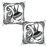 Pack de 2 Fundas de Almohada,Acuario Decorativo Segno Zodiacale,Funda de Cojín Cuadrado de Protectora de Almohada para Sofá Cama Decoración del Hogar (50x50cm) x2