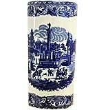 Minster Giftware Blu e Bianco Town portaombrelli quadrato in ceramica