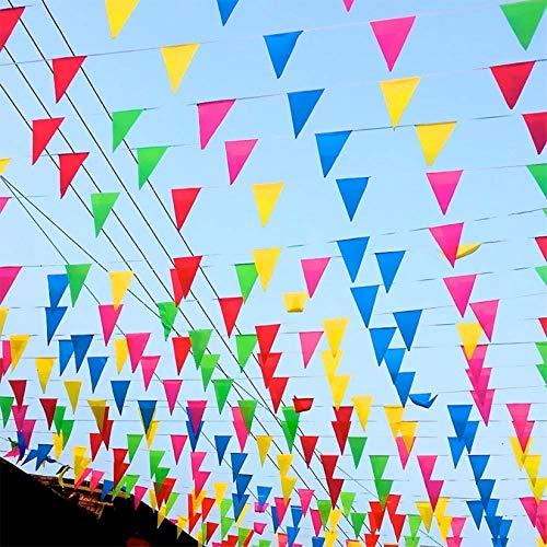 TK Gruppe Timo Klingler XXL Wimpelkette Stoff 100 Meter bunt Girlande Banner Fahne zum Aufhängen Indoor & Outdoor Draußen als Deko Dekoration für Feste, Party & Geburtstage UVM. (1x)