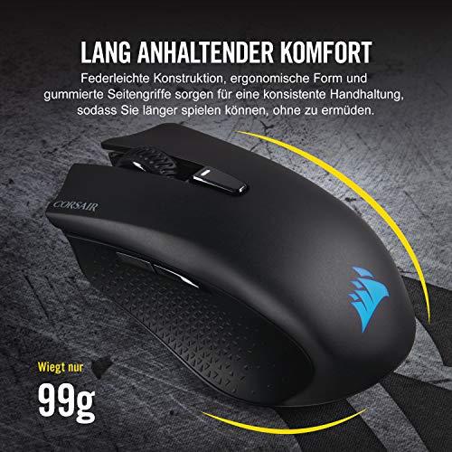 Corsair Harpoon Kabellose RGB Wiederaufladbare Optisch Gaming-Maus (mit SLIPSTREAM Technologie, 10.000DPI Optisch Sensor, RGB LED Hintergrundbeleuchtung) schwarz - 8