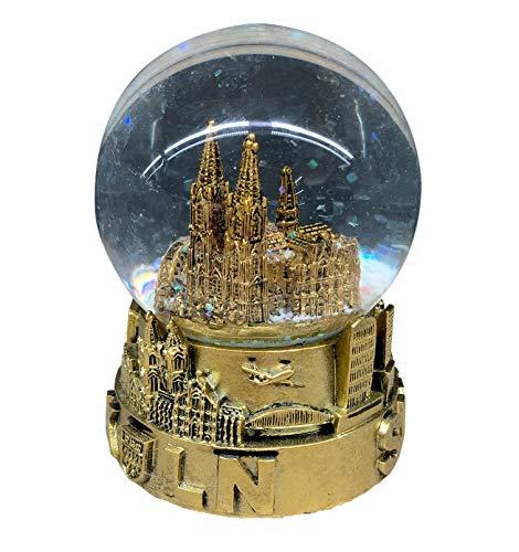 I LOVE KÖLN Schneekugel Köln - Germany 9 cm groß mit Sockel in Gold | Handbemaltes typisches und klassisches Souvenir aus Köln