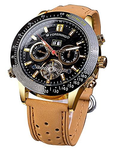 Forsining Reloj de pulsera multifuncional de moda calendario deportivo relojes automáticos para hombres de lujo marrón mecánico analógico reloj para hombre mejor regalo Montre Homme