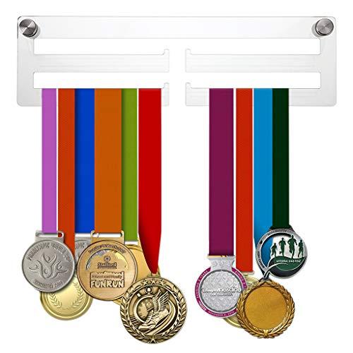 BSTKEY Acryl-Medaillen-Aufhänger – Transparente Wandmontage-Medaillen-Halterung mit 4 Stangen, für Sportmedaillen