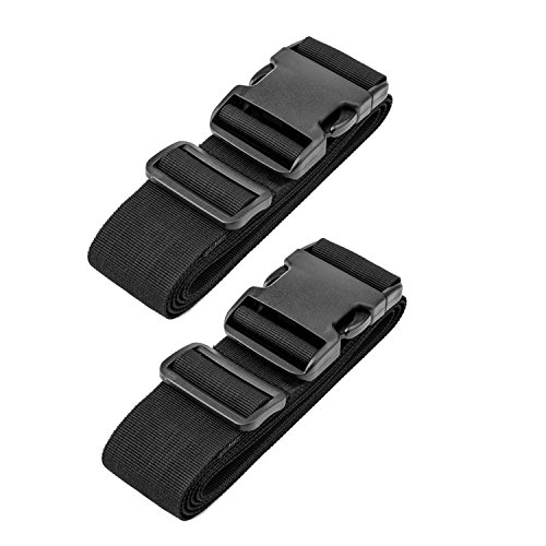 Luggage Straps Suitcase Belts, RFWIN Adjustable Black Travel Packing Belt with Buckle Closure (2 Pack Black)