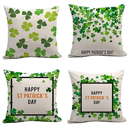Pillowcases Cotton Linen Pillow Covers Fluffy Cushions Clover Flower Green Cushion Cover Home Decoration For Bedroom Living Room Couch Car Patio 4 Pcs 45X45Cm (With Invisible Zipper)
