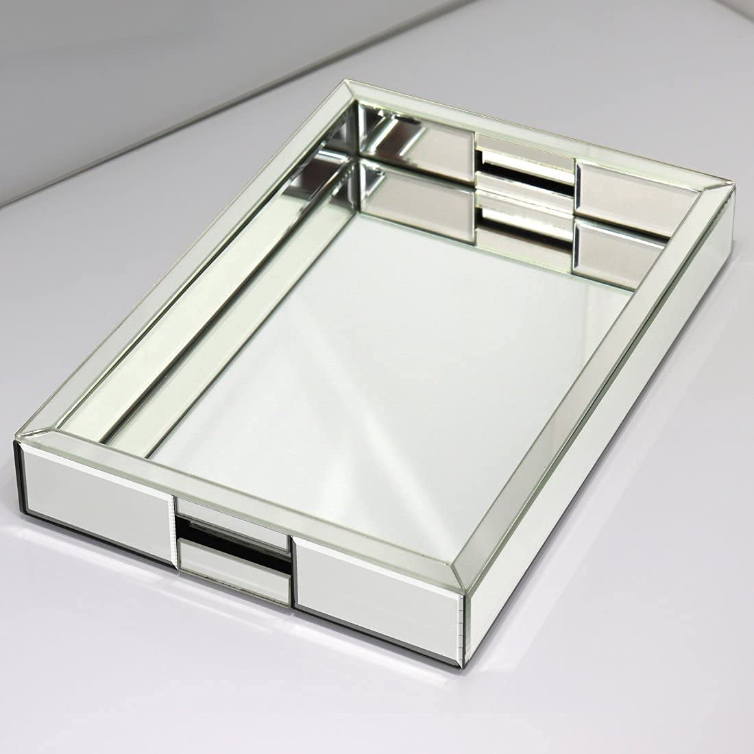 Buy Rectangle Silver Mirror Decorative Tray Size 11 Length X 14 Width X 2 Height Mirrored Vanity Organizer With Hand Markup Perfume Jewelry Tray For Bathroom Bedroom Dresser Coffee Table Qmdecor Online