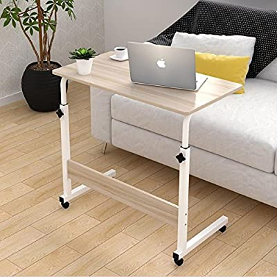 Magshion Laptop Stand Adjustable Computer Standing Desk Portable Cart Tray Side Table with wheels for Bed Sofa Hospital Reading Eating