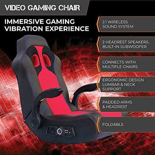 X-Rocker Ace Bayou Vibe Sound Chair with Arms, Black/Red
