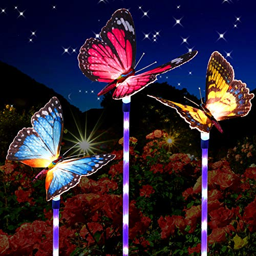 3 Piece Fiber Optic Butterfly Solar Decorative Light Outdoor Multi-color Changing LED Butterfly Garden Decor Waterproof Butterfly Light with Purple LED Light Stake for Pathway Lawn Patio (Mixed Color)