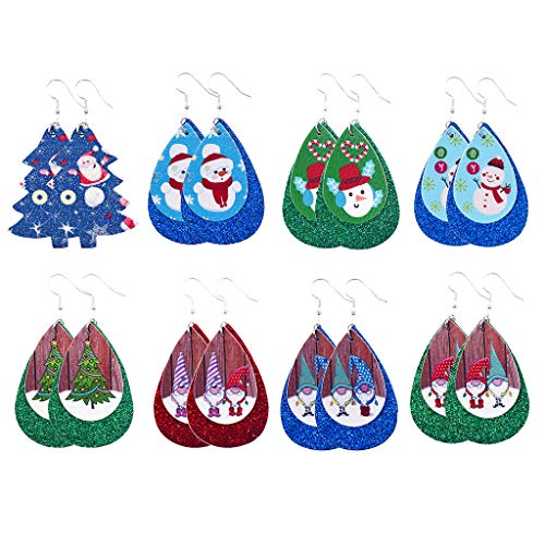 Hohaski Christmas Fashion Trend Personality Leather Pattern Drop Earrings Jewelry Gift, Christmas Ornaments Advent Calendar Pillow Covers Garland Tree Skirt Gift Bags DIY