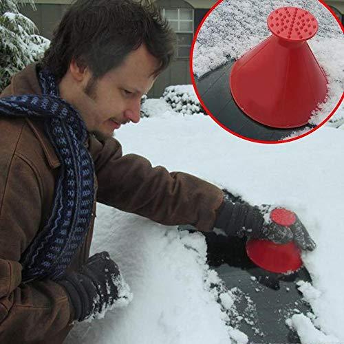 99native Cone-Shaped Auto Windschutzscheibe Schneeräumung Fensterreinigungs Werkzeug,Snowboard-Defroster Motorrad Mit Schneepinsel (Rot)