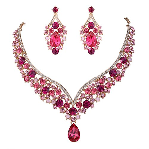 EVER FAITH Austrian Crystal Elegant V-Shaped Teardrop Necklace Earrings Set Pink Gold-Tone