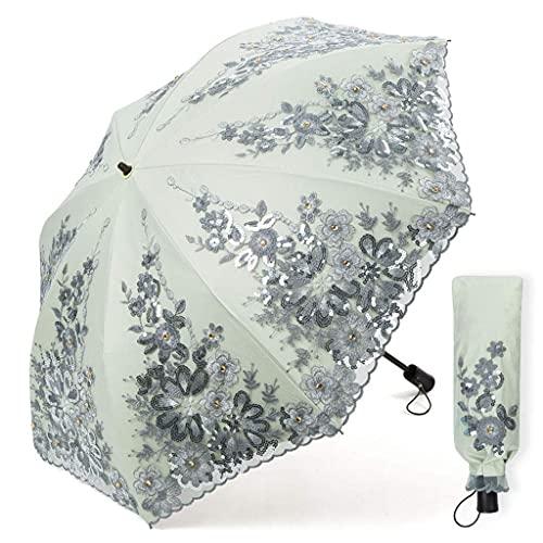 Paraguas de protección Solar para Mujer, Parasol de Encaje de Doble Capa Anti-UV, Paraguas Plegable de Princesa, Lluvia de Doble Uso Upf50 + Plegable