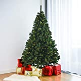 Home Treats Pre Lit Christmas Tree | Artificial Xmas Tree With Metal Stand & Lights |1289 Realistic Pine Branches 2m (7ft Pre Lit Tree)