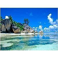 ナンバーキットによる5Dフルドリルダイヤモンドペインティング、子供、大人、お祭りの挨拶ギフト用のラインストーン刺繡クロスステッチキット-海辺の景色-45x60cm