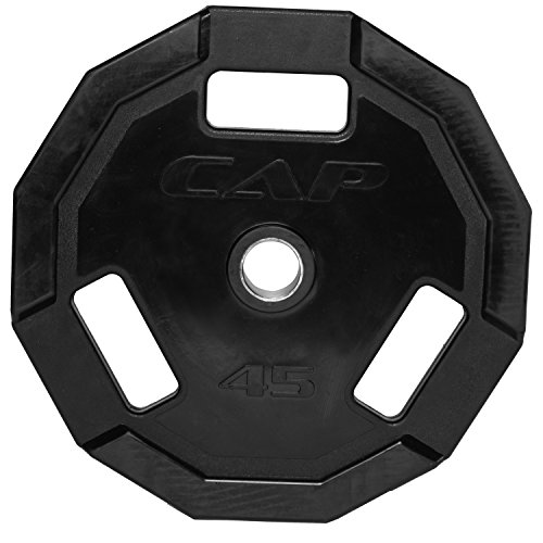 CAP Barbell 12-Sided Rubber Olympic Grip Weight Plates, Black, Single, 45 Pound