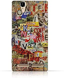 Sony Xperia T2 Ultra TPU Silicone Case with Old Torn News Paper Grunge Textured Design