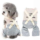 Ranphy Ropa para mascotas Mono para perros pequeños y niñas, pijama de rayas para cachorros y gatos en general, pijama de algodón suave, transpirable, mono para chihuahua Yorkshire Terrier