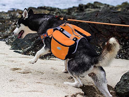 ThinkPet Alforja para Perro al Aire Libre Reflective Saddle Bag -Paquete para Perros Bolsa Doble para Mochila de Viaje Hound para Perros medianos Grandes