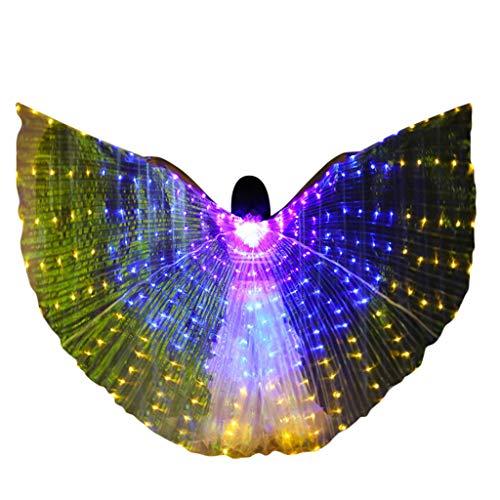 Xmiral Schmetterlingsflügel Bunt LED Tanzen Flügel Kostüme Glühen KEINE BATTERIE(L Gelb-Erwachsener)