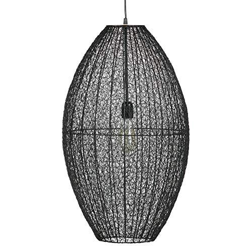 XL Metall Hängeleuchte CREATIVA Pendellampe Metalllampe Lampenschirm geflochten schwarz Design Leuchte Handarbeit ohne Leuchtmittel E27 / 40W 70x40cm #15565