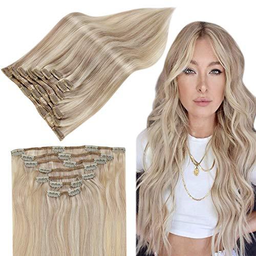 Easyouth Clip in Hair Extensions Ombre de Cheveux Humain Couleurx Blonde Cendrée se fanant en Blonde Jaune Vrais Cheveux Clip Hair Human Hair Extensio