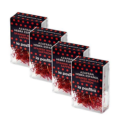 LA PASTORA | Confezione 4 Scatole di Zafferano in Pistilli | Scatole da 1 gr. | lo Zafferano | Spezie Cucina Assortite | Antiossidanti Integratori | Sapore Intenso | Zafferano Spagnolo