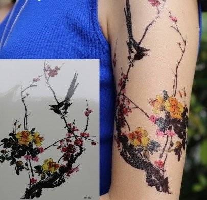 Chinesische Winterblüte Tattoo Blumen Tattoo Fake Tattoo hb552