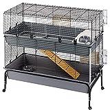 Ferplast Jaula de Dos Pisos para Conejos Rabbit 120 Double, Lado Frontal Abrible, Soporte y Accesorios Incluidos