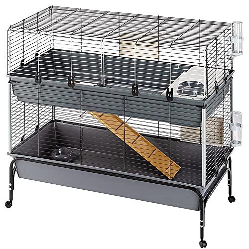 Ferplast Rabbit 120 Double Gabbia Due Piani per Conigli, Lato Frontale Apribile, Supporto e Accessori Inclusi