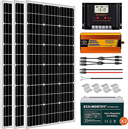 ECO-WORTHY 600W Solar Panel Kit Complete Solar Power System with Battery and Inverter for Home House Shed Farm RV Boat, 12 Volt Battery