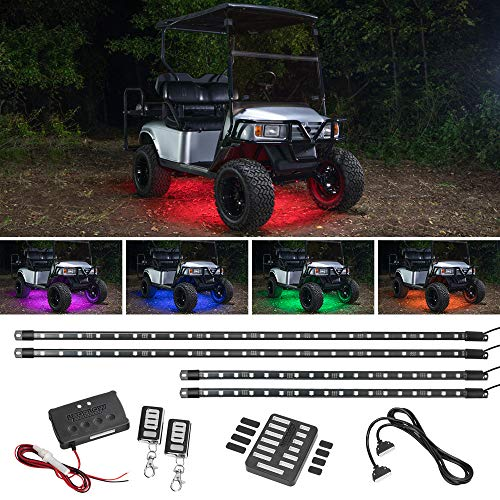 LEDGlow 4pc Expandable Million Color LED Golf Cart Underglow Accent Neon Lighting Kit for EZGO Yamaha Club Car – Fits Electric & Gas Golf Carts – Water Resistant Flexible Tubes – Current Model