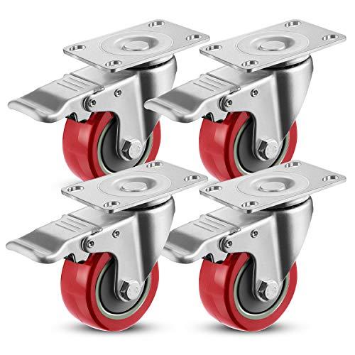 Meditool 4 Ruedas Pivotantes,400KG 75mm,Ruedas para Muebles,Ruedas Giratorias para Muebles con Freno, con Placa de Montaje (Rojo)