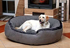 Mellifluous XX-Large Size Cat and Dog Dual Color Pet Bed, Grey-Black