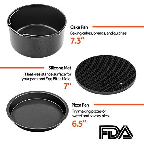 Cosori Accessoires de Friteuse sans Huile 3,5 Litre, Plateau à Pizza/Corbeille à Pain/Support en Métal/Moule à Cake/Grille de Cuisson/Cuisson à la Vapeur, C137-6AC
