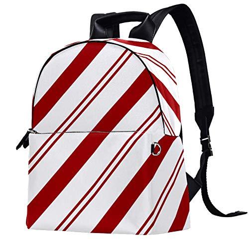 Mochila de tela a rayas rojas y blancas para niñas, mochila escolar,...
