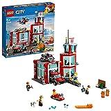LEGO 60215 City La caserne de Pompiers, Jeu de Construction avec 4 Figurines des Pompiers et Un Chien