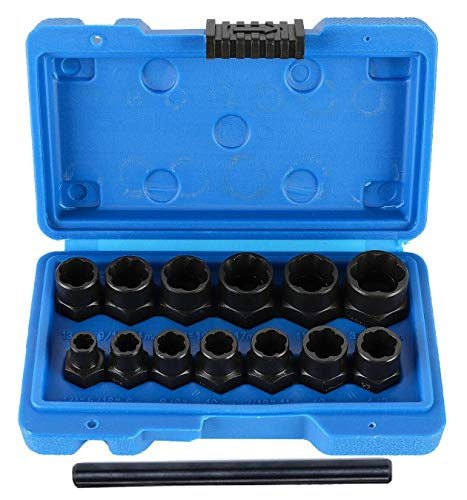 13 PCS 13 Piece Lug Nut and Bolt Extractor Removal Metric and SAE Socket Tool Set